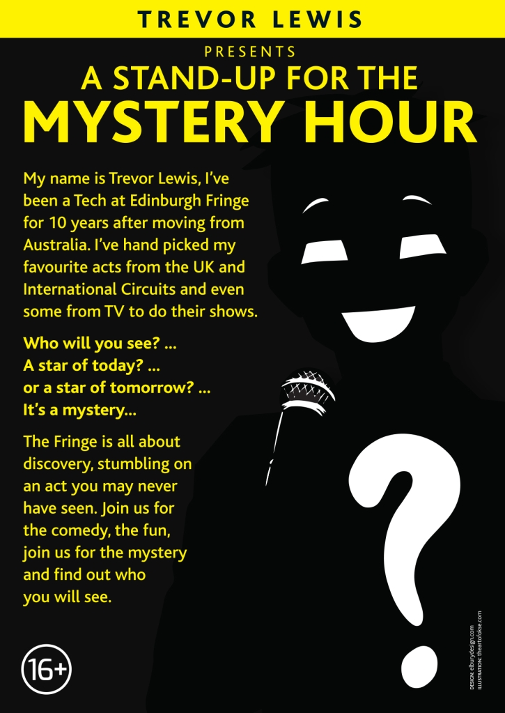 A stand-up for the mystery hour promo flyer.